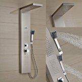 Auralum® Elegant Edelstahl Duschpaneel Thermostat mit Massagejets & Wasserfall mit LCD Display Wassertemperatur Anzeigen ink. Handbrause -