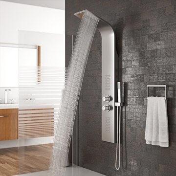 Duschpaneel LED inkl. Thermostat Armatur Regendusche Duscharmatur Wasserfall Duschsäule -
