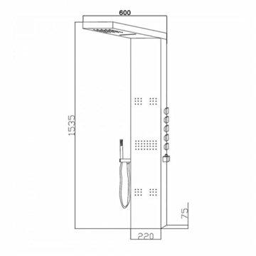 Hudson Reed Duschpaneel Delta - Thermostatische Duschsäule aus verchromtem Messing - 1535mm x 220mm x 2,4mm - Inkl. 3 Massagedüsen & Handbrause -