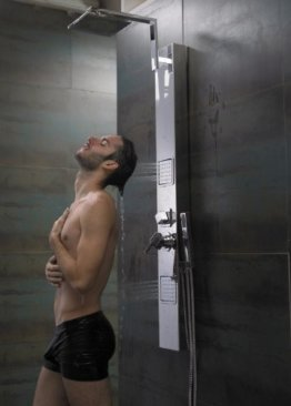 Sanlingo Edelstahl Duschpaneel Chrom Spiegel Massagedüsen Regendusche -